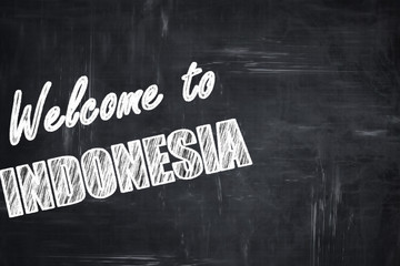 Chalkboard background with chalk letters: Welcome to indonesia