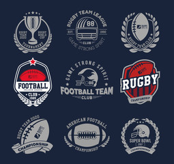 Rugby logo vector set, Football badge logo template