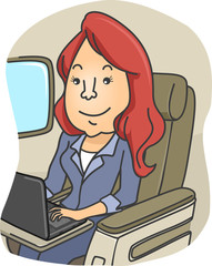 Girl Laptop Plane Type