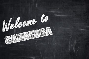 Chalkboard background with chalk letters: Welcome to canberra