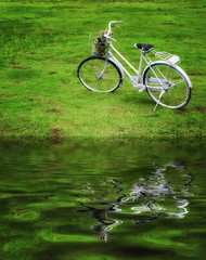 Old bicycle on green grass with water reflection.
