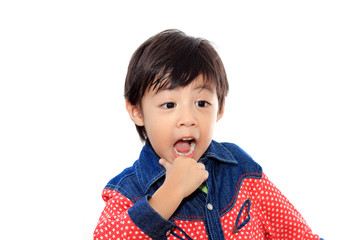 Asian little cowboy on white isolated background
