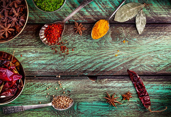 Spices at the green table