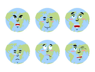 Earth emotions Set. Planet with cartoon face. Cheerful and angry