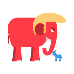 Big Red Elephant and  little blue donkey  symbols of political