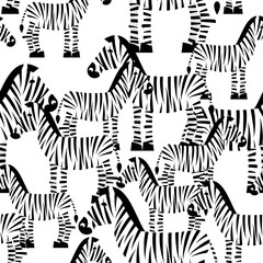 Zebra seamless pattern. Savannah Animal ornament. Wild animal te