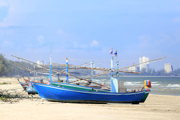 Fishing boats on the beach. - (Shallow of focus)