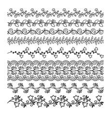 Hand drawn borders. Floral line border set. Vector illustration