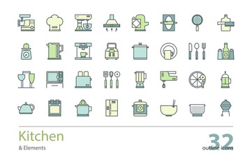 Set of vector kitchen and cooking outline icons. Colorful.