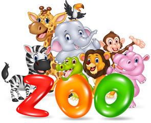Word zoo with happy cartoon wild animal africa