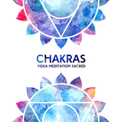Vector background. Watercolor vishuddha chakra on white background, colorful elements, bright texture. Perfect for yoga, spa, meditation practice, ayurveda invitations, greetings