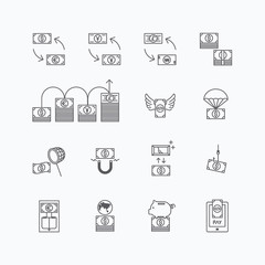 vector linear web icons set - business money currency bill conce