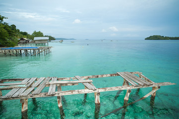 Berths in the fishing village in the reserve Raja Ampat, Indonesia