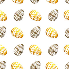 Seamless pattern with golden and black pearly Easter eggs on white background