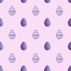 Seamless pattern with purple pearly Easter eggs on purple background