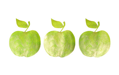 Three green hand-drawn apples on white background for your design