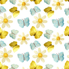 Hand-drawn with paints pearly chamomile, golden and blue butterflies on white background, seamless pattern