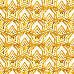 Seamless pattern with golden hand-painted stars on white background