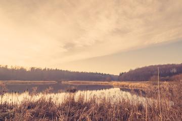 Quiet lake in the sunrise