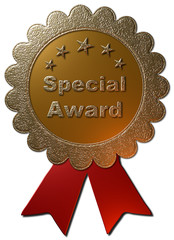 """A 3D Golden seal with text """"Special Award"""" in Gold with a red metallic ribbon and 5 golden stars."""