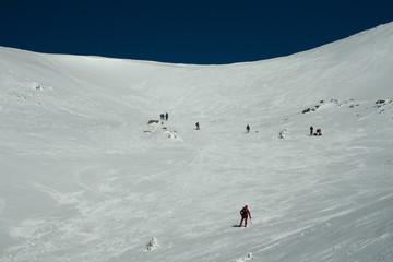 Practicing mountaineering in the Sierra de Guadarrama