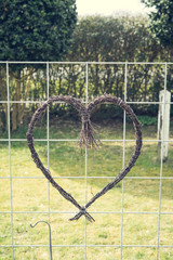 Heart made of willow twigs