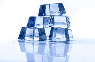 ice cube on white background with reflection