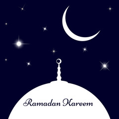 Moon and stars over the mosque top, invitation card for muslim community holy month Ramadan Kareem