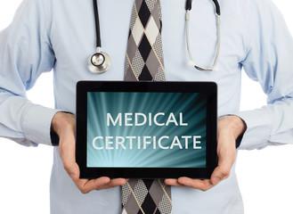 Doctor holding tablet - Medical certificate