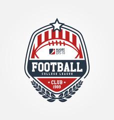 Rugby logo vector, Football badge logo template