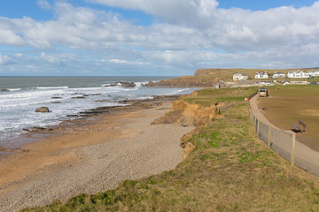 Fototapete - Path from Bude North Cornwall to nearby beach of Crooklets England UK