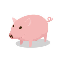 Pig cartoon minimalistic vector illustration