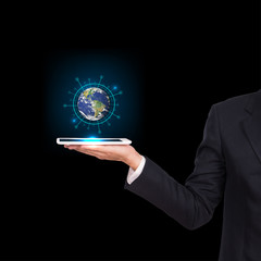 Businessman hands holding tablet with Earth planet. Elements of this image are furnished by NASA