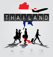 Infographic silhouette people in the airport for thailand flight