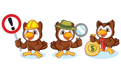 Owl Mascot Vector with money