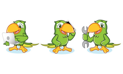 Parrot mascot Vector with laptop
