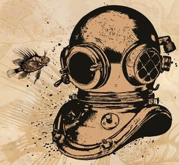 Obsolet diving equipment, vector hand drawn illustration