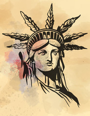 Statue of Liberty hemp leafs vector