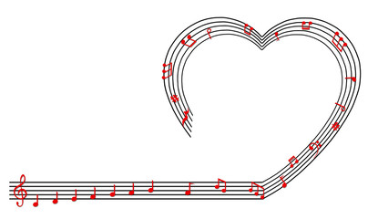 Heart collected from musical notes isolated on white