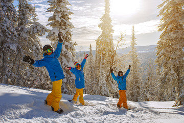 Group of young people with snowboard