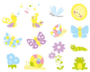 set of cute cartoon nature objects : flowers, singing birds, flying, butterflies / joyful collection of spring vectors for children