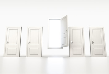 Concept of chance and opportunity. Row of shut white doors. Ligh
