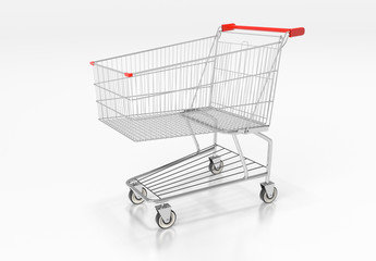 Shopping cart with red handle on white background. 3d render
