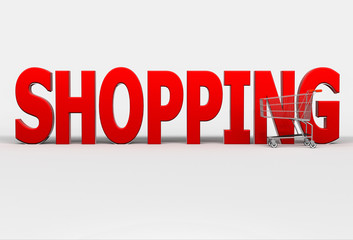 Big red word Shopping and shopping cart on white background