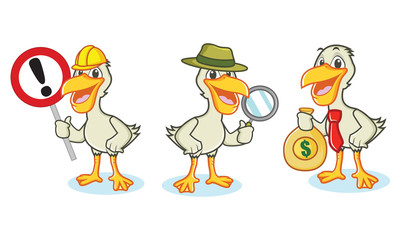 Pelican Mascot Vector with money