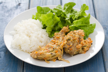 rabbit with boiled rice and salad