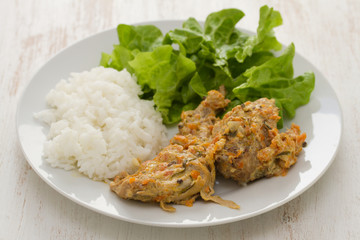 rabbit with boiled rice and salad on plate on white wooden background