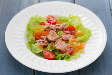 tuna salad on white plate on blue wooden background