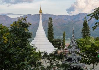 Beautiful view of Wat Phra That Doi Kong Mu against the mountain in Mae Hong Son, Thailand
