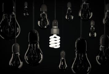 Eco energy saving bulb lighting incandescent bulbs hanging over